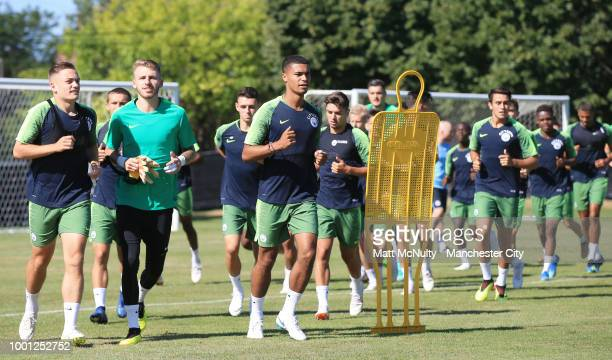 Manchester City's squad running during training at University of Illinois on July 18 2018 in Chicago Illinois