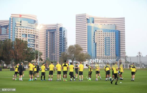 Manchester City's squad train at the Emirates palace complex