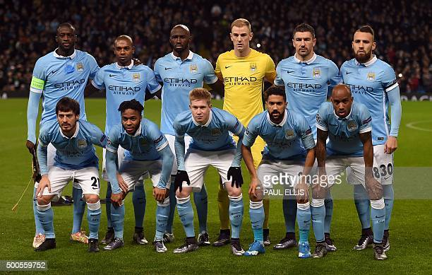Manchester City's starting XI pose for the official photograph Ivorian midfielder Yaya Toure Brazilian midfielder Fernandinho French defender...