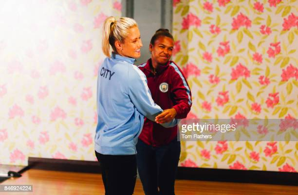 Manchester City's Steph Houghton and Nikita Parris on September 5 2017 in Manchester England