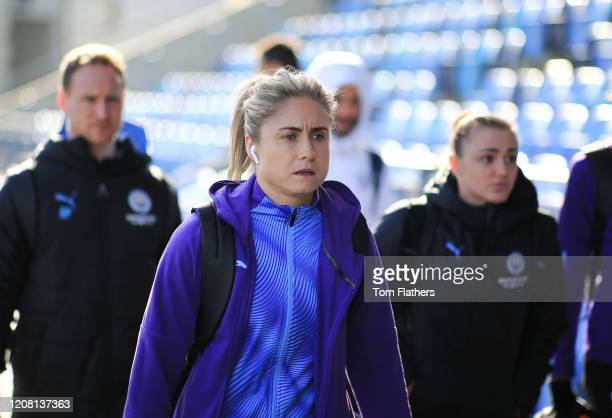 Manchester City's Steph Houghton arrives prior to the the Barclays FA Women's Super League match between Manchester City and Chelsea at The Academy...