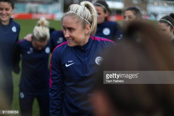 Manchester City's Steph Houghton celebrates her hundredth cap ahead of the WSL match between Sunderland AFC Ladies and Manchester City Women on...