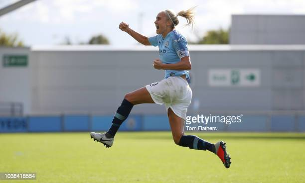 Manchester City's Steph Houghton celebrates scoring to make it 22 during the WSL match between Manchester City Women and Bristol City Women at The...