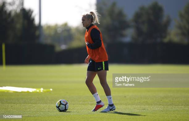 Manchester City's Steph Houghton during training at Manchester City Football Academy on September 25 2018 in Manchester England