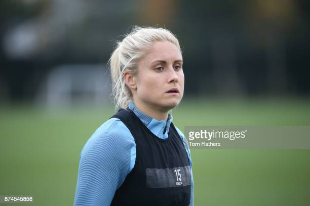 Manchester City's Steph Houghton during training at Manchester City Football Academy on November 15 2017 in Manchester England