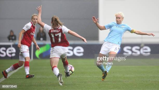 Manchester City's Steph Houghton in action during the WSL 1 match between Manchester City Women and Arsenal Ladies at Manchester City Football...