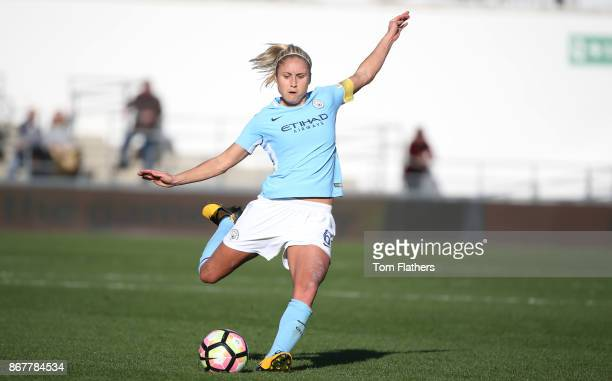 Manchester City's Steph Houghton in action during the WSL 1 match between Manchester City Women and Birmingham City Ladies at Manchester City...
