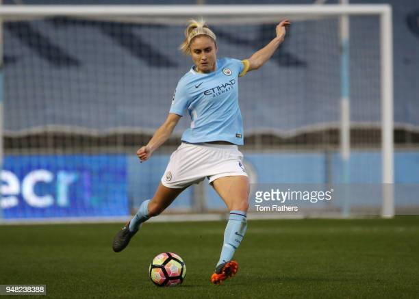 Manchester City's Steph Houghton in action during the WSL fixture between Manchester City Women and Sunderland Ladies at The Academy Stadium on April...