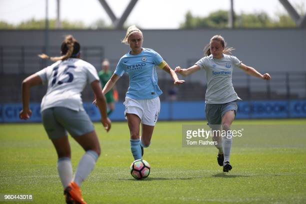 Manchester City's Steph Houghton in action during the WSL match between Manchester City Women and Everton Ladies at The Academy Stadium on May 20...