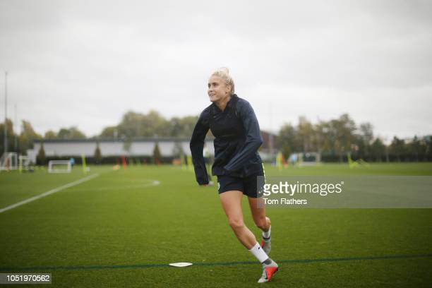 Manchester City's Steph Houghton in action during training at Manchester City Football Academy on October 12 2018 in Manchester England