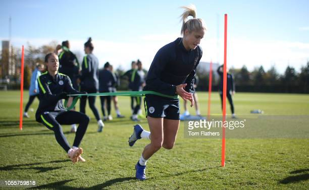 Manchester City's Steph Houghton in action during training at Manchester City Football Academy on October 31 2018 in Manchester England