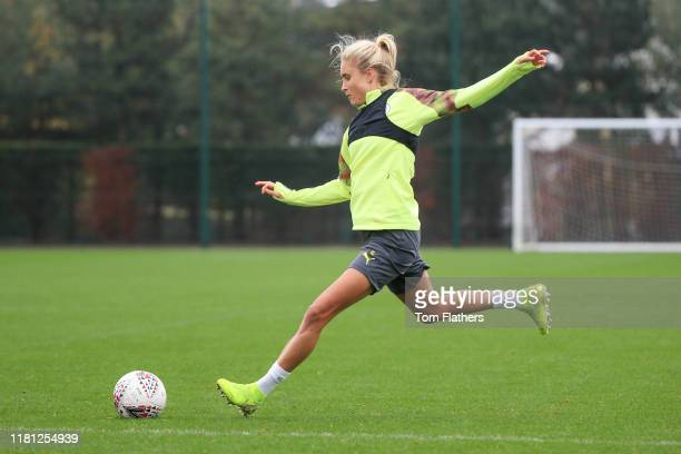 Manchester City's Steph Houghton in action during training at Manchester City Football Academy on October 15 2019 in Manchester England