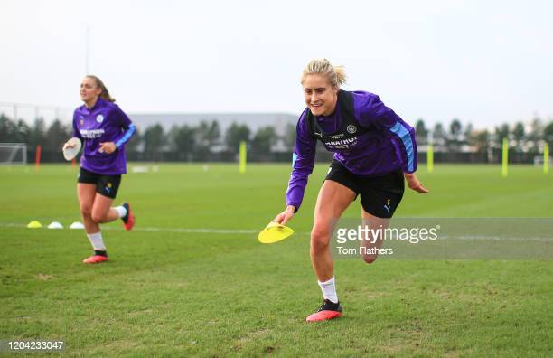 Manchester City's Steph Houghton in action during training at Manchester City Football Academy on February 05 2020 in Manchester England