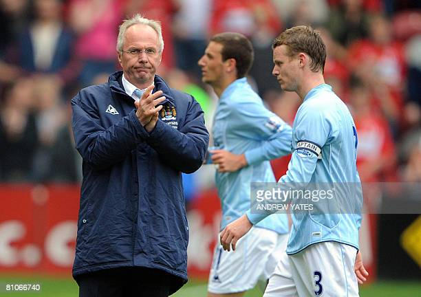 Manchester City's Swedish manager Sven-Goran Eriksson takes to the pitch after the English Premier league football match against Middlesbrough at The...