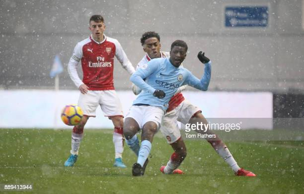 Manchester City's Taylor Richards in action during the Premier League 2 match between Manchester City EDS and Arsenal U23 at Academy Stadium on...