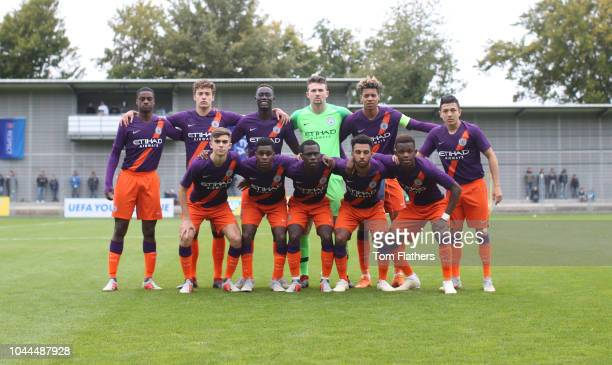 Manchester City's team group ahead of the UEFA Youth League Group F game between TSG 1899 Hoffenheim and Manchester City at the DitmarHoppStadion in...