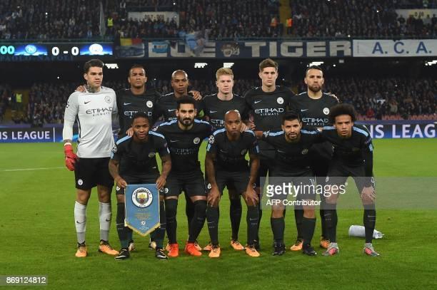Manchester City's team players Manchester City's Brazilian goalkeeper Ederson Manchester City's Brazilian defender Danilo Manchester City's Brazilian...