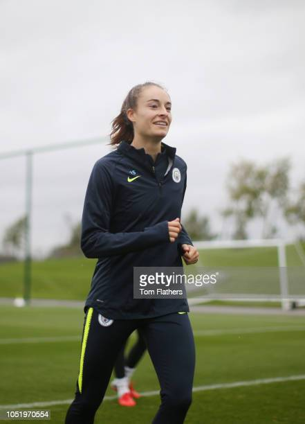 Manchester City's Tessa Wullaert in action during training at Manchester City Football Academy on October 12 2018 in Manchester England