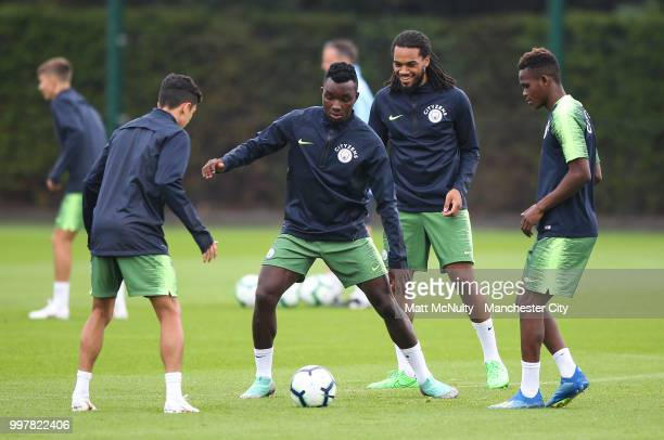Manchester City's Thierry Ambrose and teammates during training at Manchester City Football Academy on July 13 2018 in Manchester England
