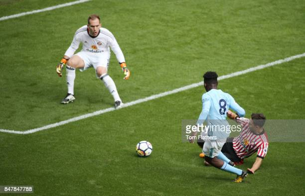 Manchester City's Tom Dele Bashiru in action at Etihad Stadium on September 16 2017 in Manchester England