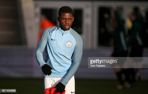 Manchester City's Tom DeleBashiru ahead of the during the UEFA Youth League match between Manchester City v FC Internazionale Milano at Manchester...