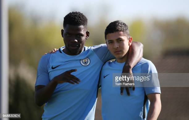 Manchester City's Tom DeleBashiru and Iancarlo Poveda in action in training at on April 19 2018 in Manchester England
