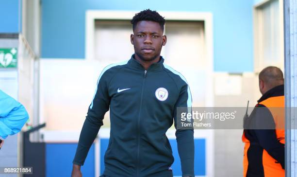 Manchester City's Tom DeleBashiru arrives ahead of the UEFA Youth League Group F match between SSC Napoli and Manchester City on November 1 2017 in...