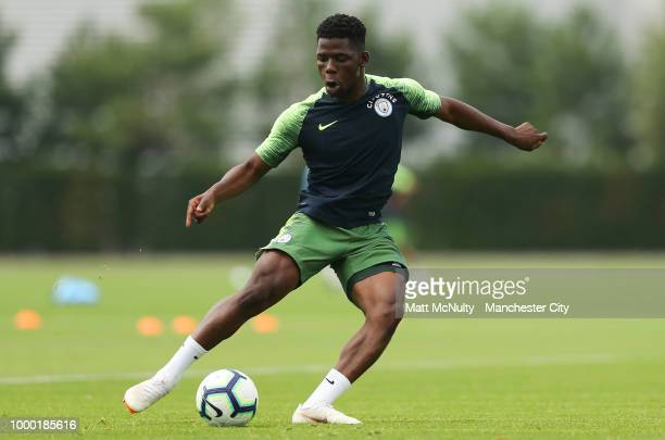 Manchester City's Tom DeleBashiru during training at Manchester City Football Academy on July 16 2018 in Manchester England