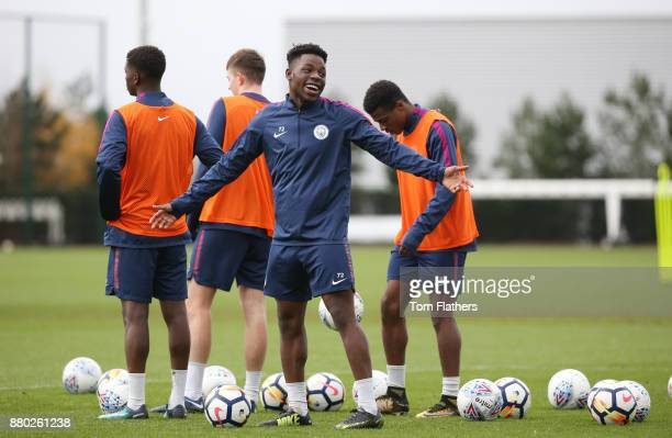 Manchester City's Tom DeleBashiru during training at Manchester City Football Academy on November 27 2017 in Manchester England