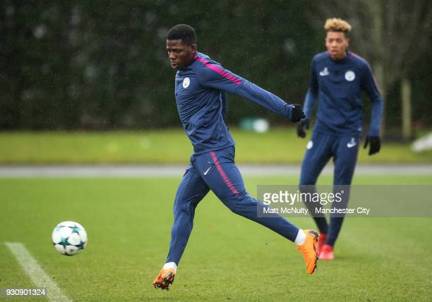 Manchester City's Tom DeleBashiru during training at Manchester City Football Academy on March 12 2018 in Manchester England