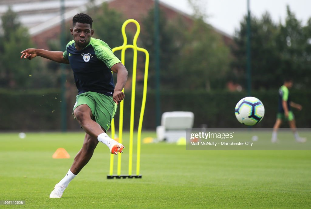 Manchester City's Tom Dele-Bashiru during training at Manchester City Football Academy on July 12, 2018 in Manchester, England.
