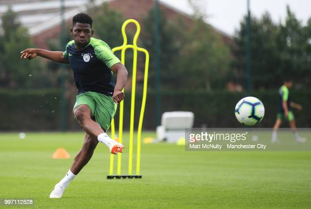 Manchester City's Tom DeleBashiru during training at Manchester City Football Academy on July 12 2018 in Manchester England