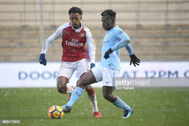 Manchester City's Tom DeleBashiru in action during the Premier League 2 match between Manchester City EDS and Arsenal U23 at Academy Stadium on...
