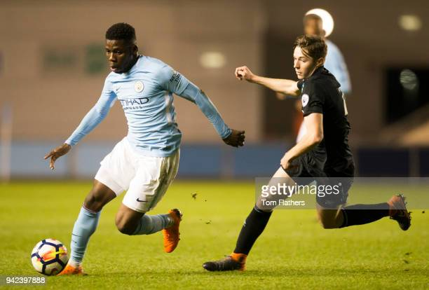 Manchester City's Tom DeleBashiru in action during the Premier League 2 fixture between Manchester City and West Ham United at Manchester City...