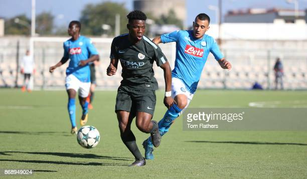 Manchester City's Tom DeleBashiru in action during the UEFA Youth League Group F match between SSC Napoli and Manchester City on November 1 2017 in...