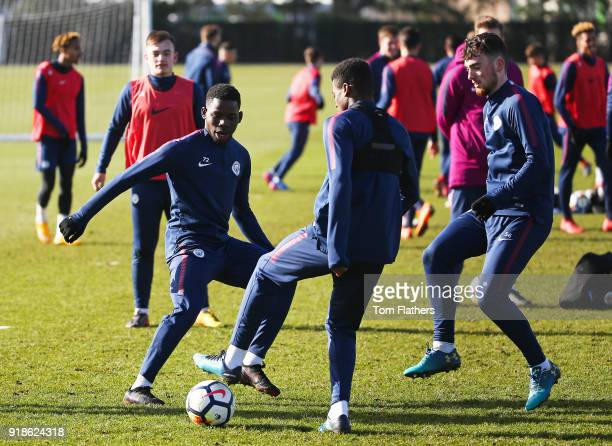 Manchester City's Tom DeleBashiru Javairo Dilrosun and Ed Francis during training at Manchester City Football Academy on February 15 2018 in...