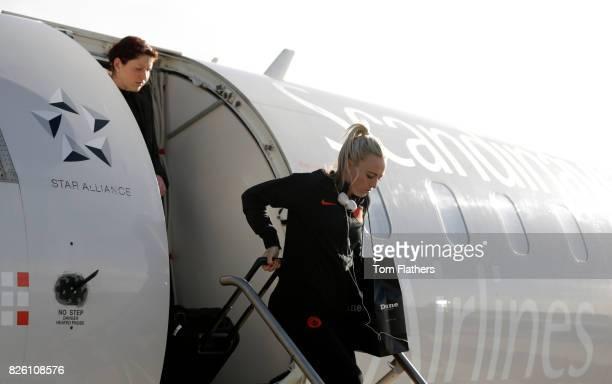 Manchester City's Toni Duggan arrives in Aalborg airport