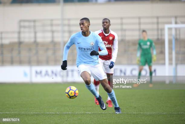 Manchester City's Tosin Adarabioyo in action during the Premier League 2 match between Manchester City EDS and Arsenal U23 at Academy Stadium on...