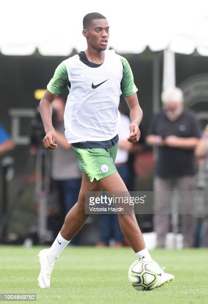 Manchester City's Tosin Adarabioyo in action during training at New York City FC's training complex on July 23, 2018 in New York City.