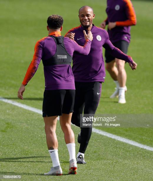 Manchester City's Vincent Kompany and Kyle Walker during the training session at the City Football Academy Manchester
