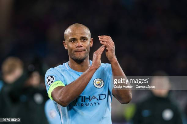 Manchester City's Vincent Kompany applauds the fans at the final whistle during the UEFA Champions League Round of 16 First Leg match between FC...