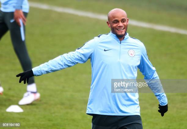 Manchester City's Vincent Kompany during the open training session at Manchester City Football Academy on March 6 2018 in Manchester England