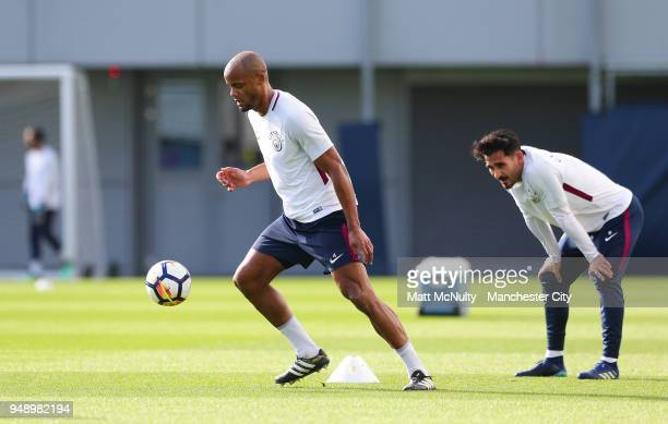 Manchester City's Vincent Kompany during the training session at Manchester City Football Academy on April 18 2018 in Manchester England