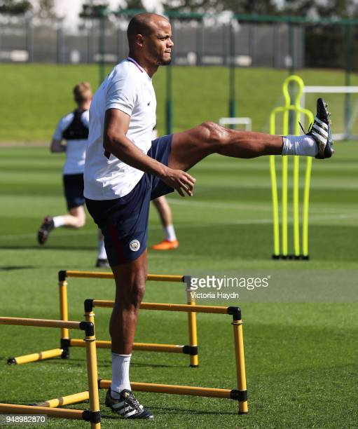 Manchester City's Vincent Kompany during the training session at Manchester City Football Academy on April 19 2018 in Manchester England