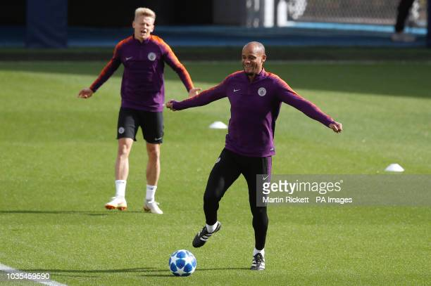 Manchester City's Vincent Kompany during the training session at the City Football Academy Manchester