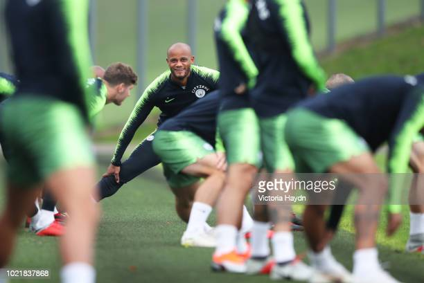 Manchester City's Vincent Kompany during training at Manchester City Football Academy on August 23 2018 in Manchester England