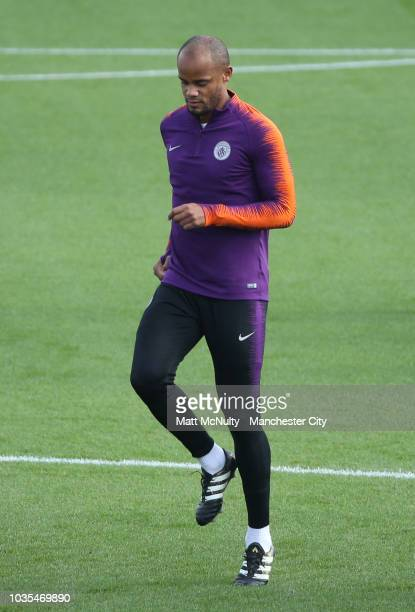 Manchester City's Vincent Kompany during training at Manchester City Football Academy on September 18 2018 in Manchester England