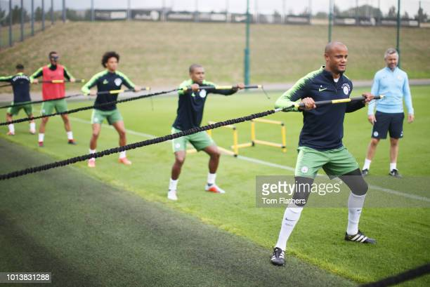 Manchester City's Vincent Kompany in action during training at Manchester City Football Academy on August 9 2018 in Manchester England