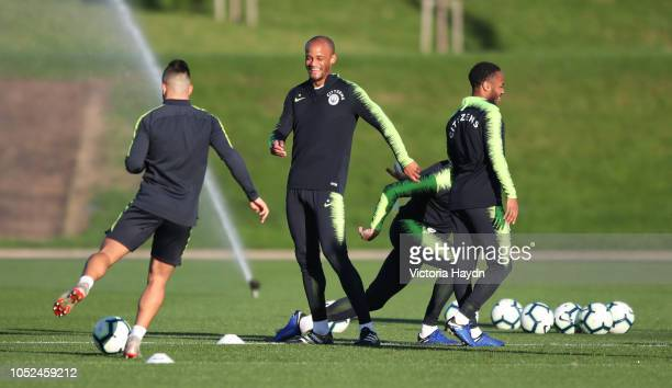 Manchester City's Vincent Kompany in action during training at Manchester City Football Academy on October 18 2018 in Manchester England