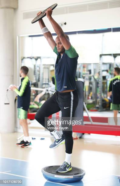 Manchester City's Vincent Kompany in action during training in the gym at Manchester City Football Academy on August 15 2018 in Manchester England